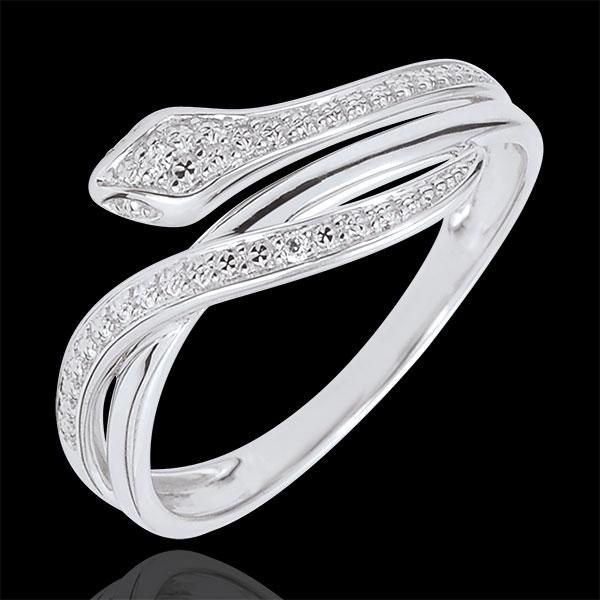 Anillo Paseo Soñado - Serpiente Hechizante - oro blanco 9 quilates y diamantes