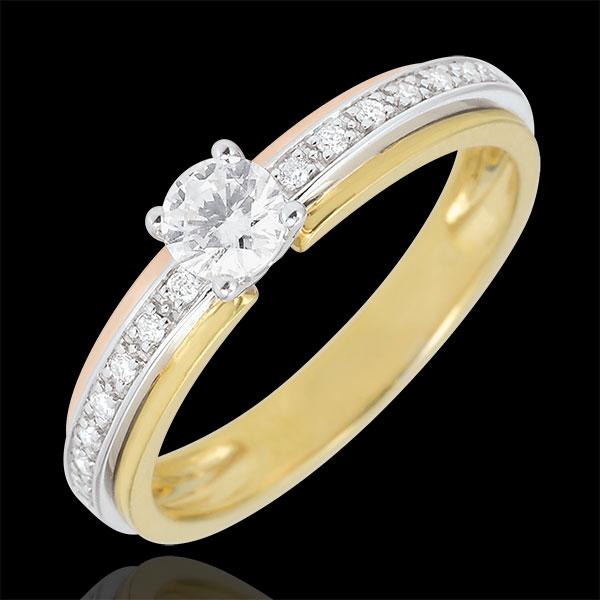 Anillo de Pedida Solitario Destino - Mi Reina - pequeño modelo - 3 oros - oro blanco, oro amarillo, oro rosa 18 quilates