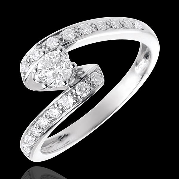 Anillo de Pedida Solitario Destino - Nefertiti - oro blanco 18 quilates - diamante 0.27 quilates