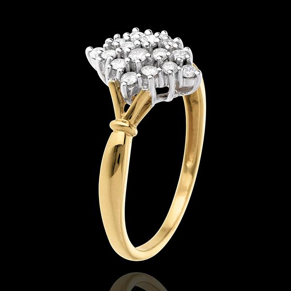 Anillo Rombo Empedrado - oro blanco y amarillo 18 quilates y diamantes