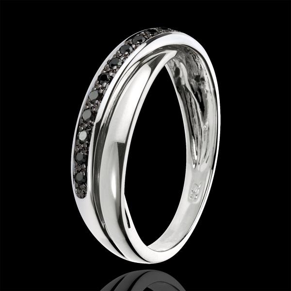 Anillo Saturno diamante - 13 diamantes negros y oro blanco 18 quilates