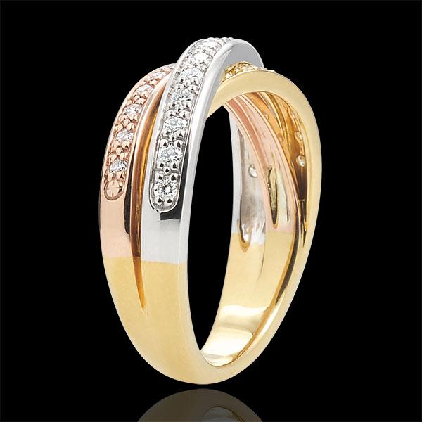Anillo Saturno diamante - 3 oros 9 quilates - 29 diamantes