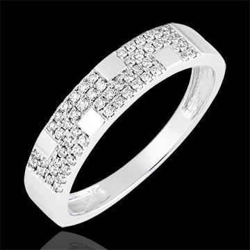 Anillo Silencio - oro blanco de 9 quilates y diamantes