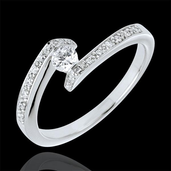 Anillo solitario acompañado Nido Precioso - Promesa - oro blanco 18 quilates - 3 diamantes 0.15 quilates