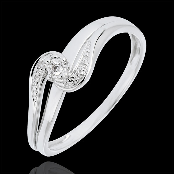 Anillo Solitario acompañado Nido Precioso - Sofía - oro blanco 9 quilates - diamante 0.013 quilates
