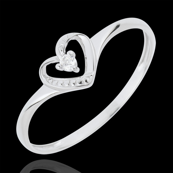 Anillo Solitario Corazón de Amor - oro blanco 18 quilates