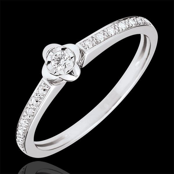 Anillo Solitario Eclosión - Peonia - oro blanco 9 quilates - diamante 0. 03 quilates