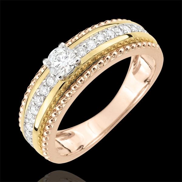 Anillo Solitario - Flor de Sal - dos aros - 3 oros 18 quilates - diamante 0.378 quilates