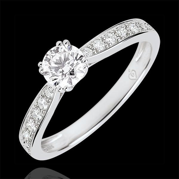 Anillo solitario Garlane 8 garras - diamante de 0.4 quilates - oro blanco de 18 quilates