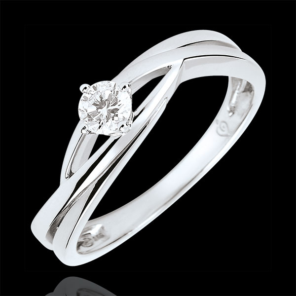 Anillo solitario Nido Precioso - Dova - oro blanco 9 quilates - diamante de 0.15 quilates