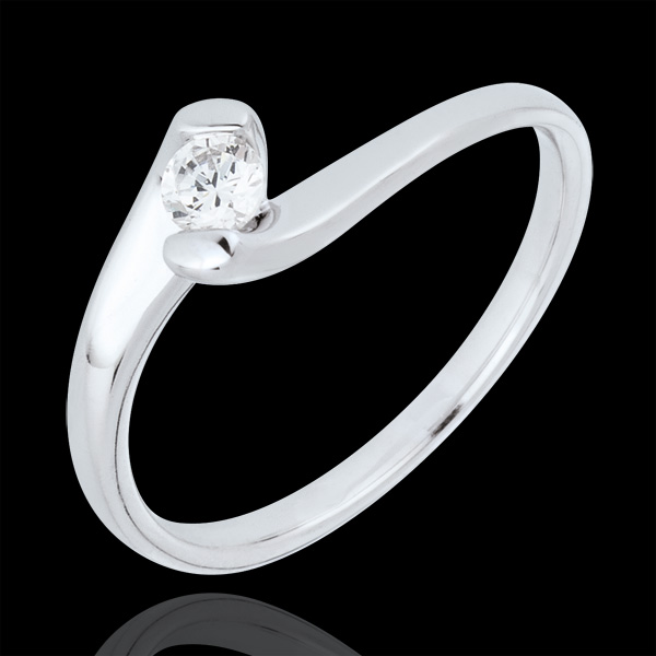 Anillo solitario Nido Precioso - Pasión Eterna - oro blanco 9 quilates - diamante 0.14 quilates