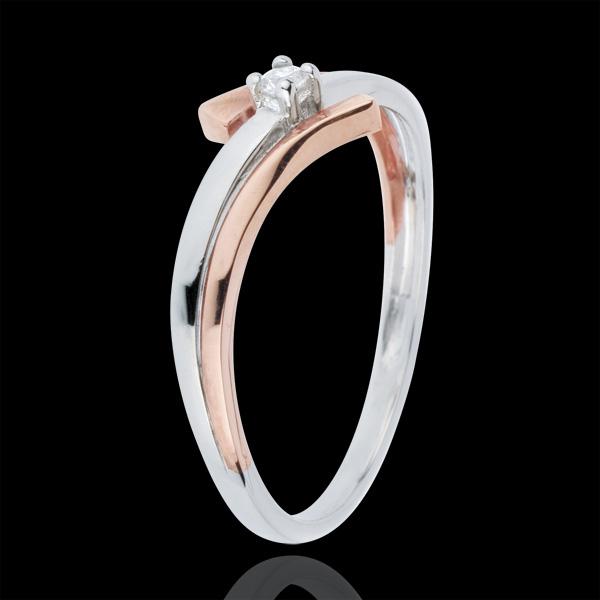Anillo Solitario Nido Precioso - Variación Luminica - oro blanco y oro rosa 18 quilates - diamante 0.032 quilates