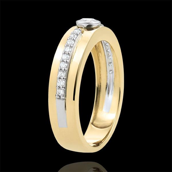 Anillo Solitario Promesa - oro amarillo 9 quilates y diamantes