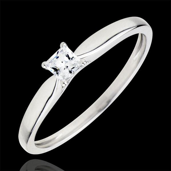 Anillo Solitario revelación - diamante princesa 4 garras