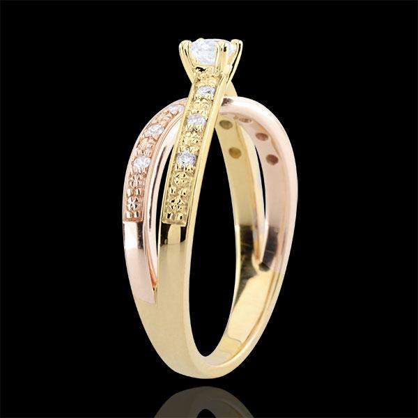 Anillo Solitario Saturno Dúo doble diamante - oro rosa y oro amarillo 18 quilates