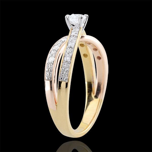 Anillo Solitario Saturno Dúo doble diamante - Tres oros 18 quilates - diamante 0.15 quilates