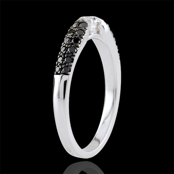 Anillo solitario Triunfo - oro blanco 18 quilates y diamantes negros