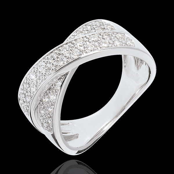 Anillo Tandem Empedrado - oro blanco 18 quilates - 36 diamantes