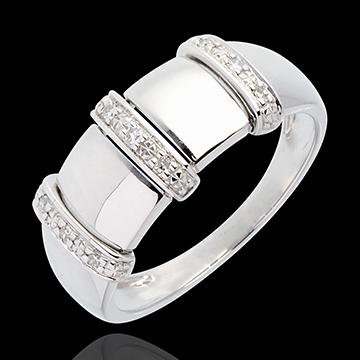 Anillo Triada Empedrado oro blanco - 9 diamantes
