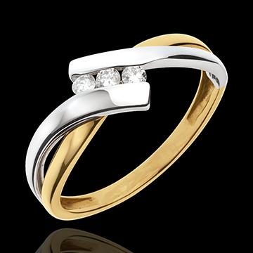 Anillo Trilogía Nido Precioso - 2 oros - 3 diamantes - oro blanco y oro amarillo 18 quilates