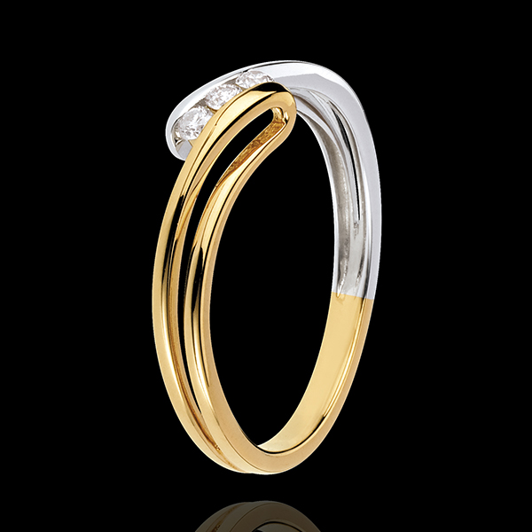 Anillo Trilogía Nido Precioso - Escarcha - oro amarillo y oro blanco 18 quilates - 3 diamamantes