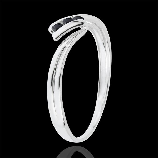 Anillo Trilogía Nido Precioso - Euforia - oro blanco 18 quilates - diamantes negros