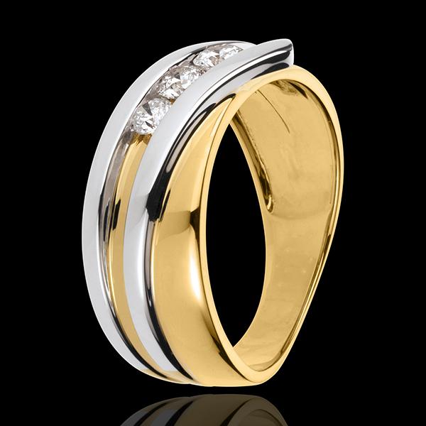 Anillo trilogía Nido Precioso - Priscilla - oro amarillo y blanco 18 quilates - 3 diamantes 0.31 quilates