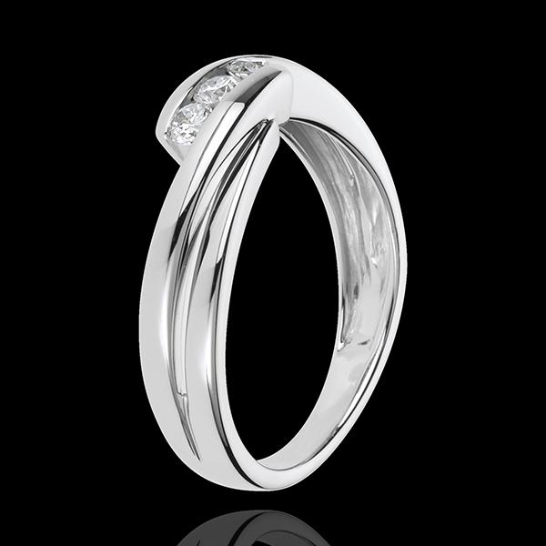 Anillo trilogía Nido Precioso - Ritumelo - oro blanco 18 quilates - 3 diamantes 0.21 quilates
