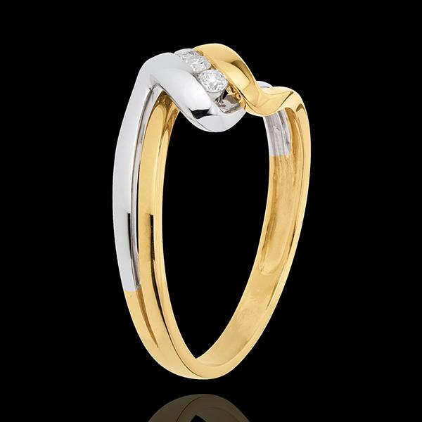Anillo trilogía Nido Precioso - Tiempo infinito - oro amarillo y blanco 18 quilates - 3 diamamantes