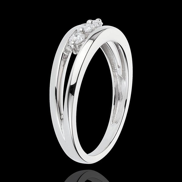 Anillo Triología Abismo - oro blanco 18 quilates - 3 diamantes
