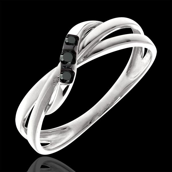 Anillo Triología aros de diamantes negros - oro blanco 18 quilates