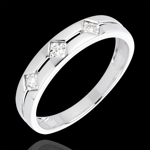 Anillo Triología Rombos - oro blanco 18 quilates y diamantes