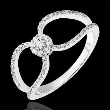 Anillo Valentina - oro blanco de 9 quilates y diamantes