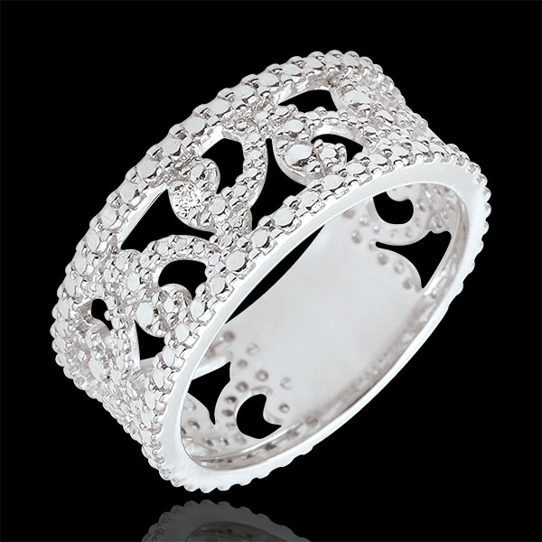 Anillo Varda - oro blanco 9 quilates y diamante