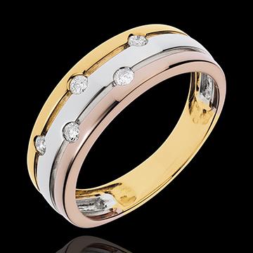 Anillo Vía Láctea - 3 oros - oro amarillo, blanco, rosa 18 quilates