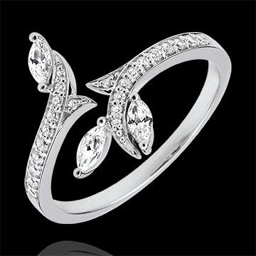 Anillo Bosque Misterioso - oro blanco 18 quilates y diamantes de forma marquesa