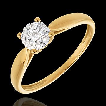 Anillo caña oro amarillo esfera empedrado - 7 diamantes