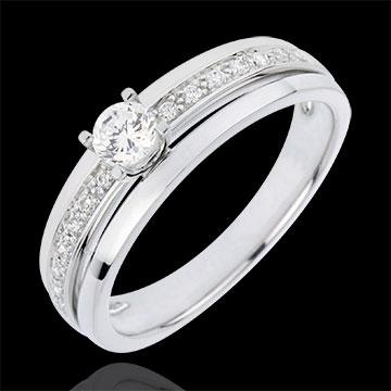Anillo de compromiso Destino - Mi Reina - pequeño modelo - oro blanco 18 quilates - diamante 0.20 quilates