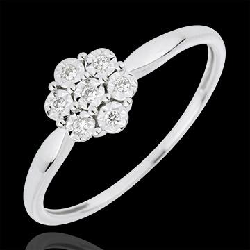 Anillo Solitario Frescura - Flor de Diente de León - 7 diamantes - oro blanco 18 quilates