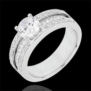 Anillo de Pedida Destino - Constancia - oro blanco 18 quilates - diamante 1 quilates