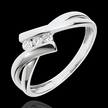 Anillo triple diamante Nido Precioso - oro blanco 18 quilates - 3 diamantes
