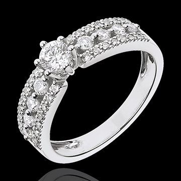 Solitario Destino - Zarina - oro blanco 18 quilates - diamante 0.27 quilates