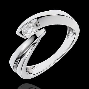 Solitario Brillo Eterno - Ondina - oro blanco - 1 diamante: quilates 0.27 - 18 quilates