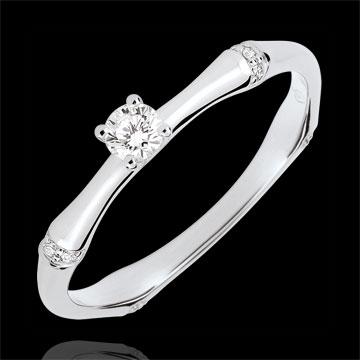Anillo de compromiso jungla Sagrada - diamante 0,09 quilates - oro blanco 18 quilates
