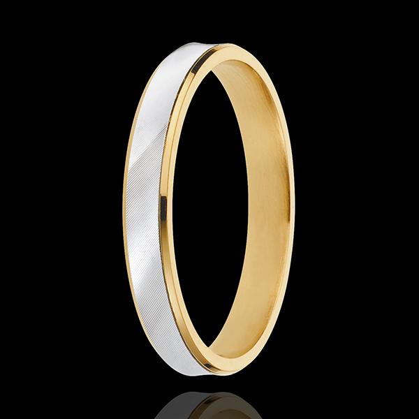 Anneau Dandy - 3mm - or blanc et or jaune 18 carats