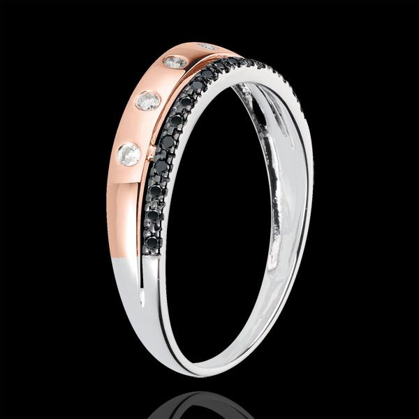 Anneau Féérie - Couronne d'Étoiles - petit modèle - or blanc et or rose 18 carats et diamants noirs