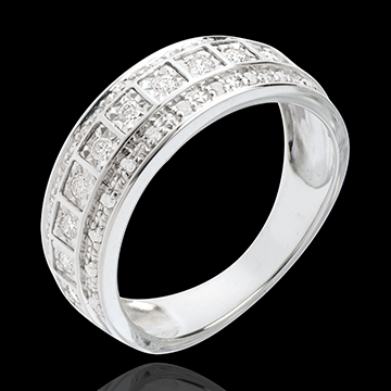 Anneau Féérie - Galaxie - 0.28 carat - 33 diamants - or blanc 18 carats