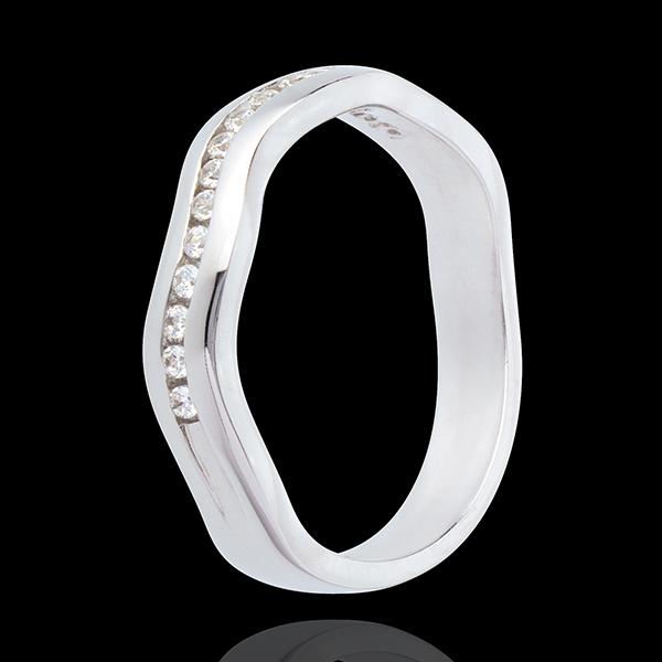 Anneau illusion or blanc 18 carats semi pavé - serti rail - 16 diamants