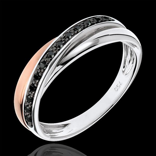 Anneau Saturne Diamant - diamants noirs - or blanc et or rose 9 carats