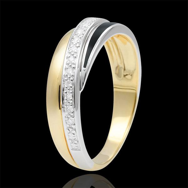 Anneau Saturne Diamant - laque noire et diamants - or blanc et or jaune 9 carats